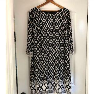 Black and White Pattern Shift Dress
